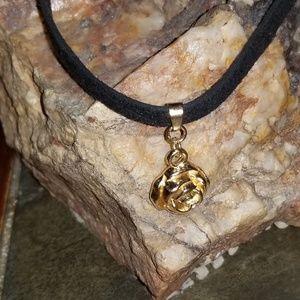 Gold rose on black velvet choker
